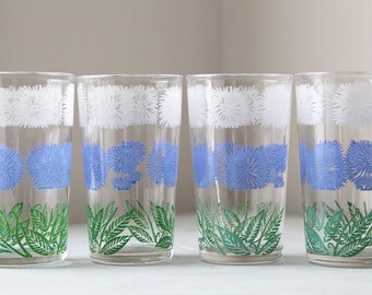 Vintage Flower Juice Glasses in Periwinkle, Green and White Set of 4