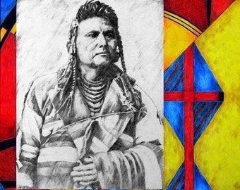 Native American Art, Chief Joseph, Wal-lam-wat-kain, Nez Perce, Original Colored Pencil Drawing Wall Art