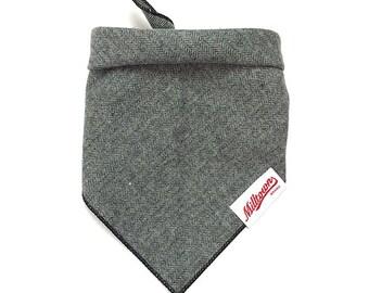Dog Bandana - Grey Herringbone Flannel