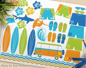 Surfing Clipart, Surfin' Safari, summer clipart,  beach, clip art, surfboards, sharks, surfer, Commercial Use, vector clip art, SVG Cut