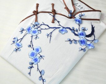 blue plum blossom high quality iron on patch ,exquisite patch ,embroidered patch ,gorgeous applique, patches, DIY