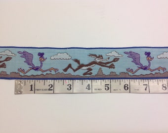 Wile e. Coyote and Roadrunner vintage woven trim, ribbon looney tunes