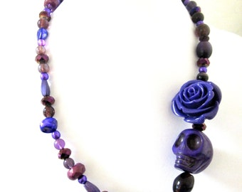 Day Of The Dead Necklace Sugar Skull Jewelry Purple Rose