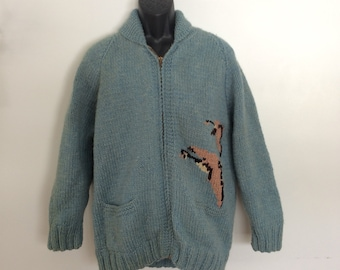 Vintage Cowichan wool sweater zip up Geese size Large