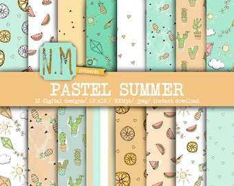 Summer digital paper pack pastel summer digital pattern fun summer vacation pastel blue peach cactus pineapple lemon watermelon kite camera