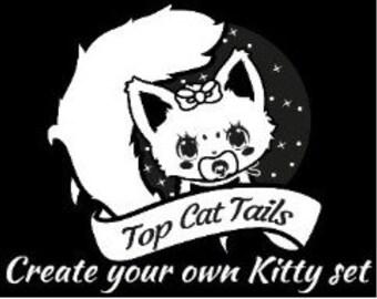 Create Your Own kitten Set -Tail and Ear Set, Kitty Tail, Neko, kawaii, cosplay, pet play, fur play, lolita, custom kitty tail and ear set.