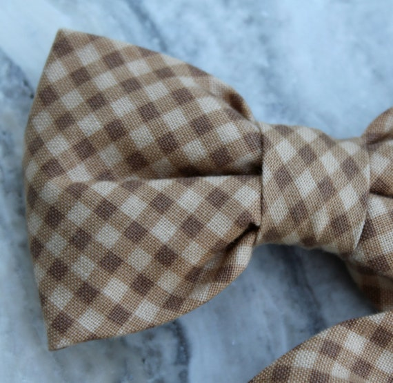 Brown Gingham Plaid Bow Tie - clip on, pre-tied with stap or self tying - freestyle - ring bearer outfit wedding accessory