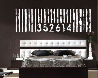 Wall decal PERSONALIZED OVERSIZED BARCODE Vinyl art decor stickers by Decals Murals (22x71)