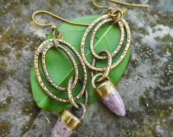 Ocean Jasper earrings | Silver ring earrings | stone bullet earrings | Natural stone earrings | Artisan metalwork | Pink jasper