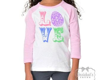 Girl Easter Shirt - Easter LOVE Tshirt - Easter Pink White Baseball - Girl Easter Egg Shirt - Personalize Toddler Infant - Custom Size Retro
