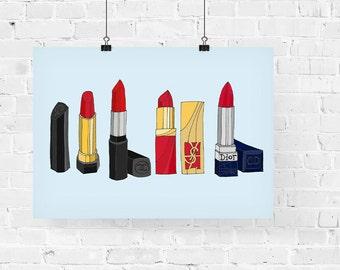 4 Classic Red Lipsticks Fashion Illustration Art Print