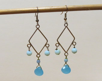 Chalcedony blue quartz and blue amazonite golden diamond shaped gemstone earrings.   #EAR-013