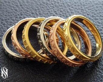 Unique Pattern Wedding Ring 14K Gold Wedding Ring Stackable Gold Rings Stackable Wedding Band Solid Gold Wedding Bands Couple Gold Ring