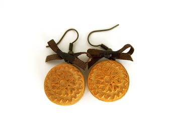 Earrings greedy little chocolate ganache cookies - polymer clay jewelry