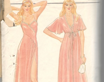 Butterick 4669 1980s Misses Asymmetrical Nightgown Robe Pattern Peignoir Womens Vintage Sewing Pattern Size Small 8 - 10 Bust 31 32