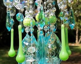 Jeweled Antique Crystal Wind Chime, Jeweled Aqua Crystal Wind Chime, Crystal Art, Garden Art, Garden Decoration, Aqua Crystal Sun Catcher