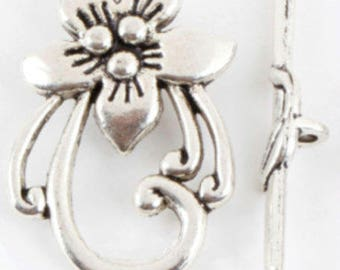 2 30 * 20mm silver metal flower toggle clasps