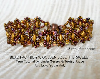 Bead Pack BB-210 Golden Lizbeth Bracelet, Free Tutorial by Teejay Joyce and Linda Genaw Available Separately, BB210 Golden Lizbeth Bead Pack