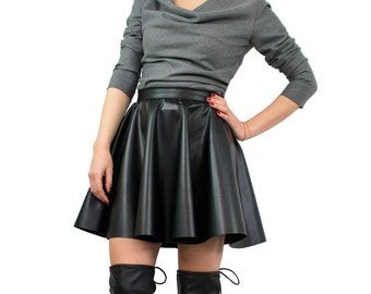 Leather mini skirt/ Short circle skirt/ Black leather skirt/ Skater skirt/ Women mini skirt/ Black mini skirt/ High waist skirt LEA