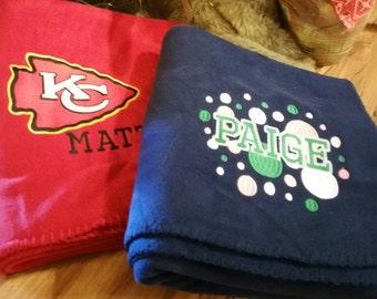 Design Your Own Fleece Blanket, Embroidered Fleece Balnket, Fleece Stadium Blanket