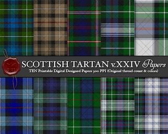 Digital Printable Scottish Tartan Plaid: Highland Clan MacKenzie, Hunting, Morgan, Dress, Blue, Said to be descended from Gilleon