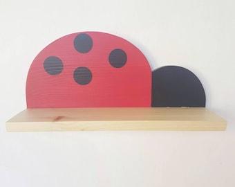 Wooden ladybird  shelf - modern ladybird shelf - handmade floating ladybird  shelf