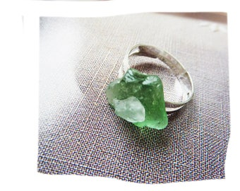 Durable ring nature organic pieces of glass polished by the sea