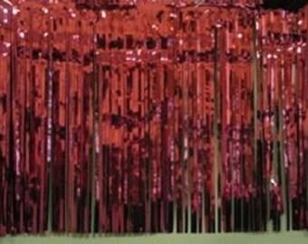 "Metallic burgundy Fringed table skirt Party decor  29"" x 14 ft"