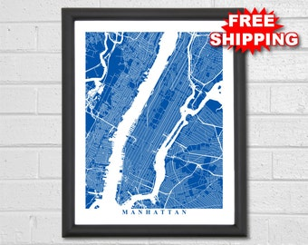 Manhattan Map Art - Map Print - New York - City Map Art - Travel - NYC - Manhattan - Office Decor - Wedding Housewarming Gift Anniversary