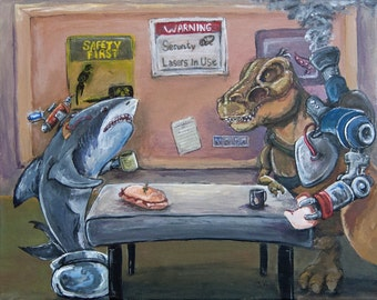 "Weird funny geek steampunk T-Rex robot arms dinosaur shark with laser coffee best friends work  5"" x 7"" or 8"" x 10"" ART PRINT - ""Break Time"""