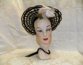 1930's Black Lattice and Velvet Hat