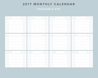 "2017 Printable Monthly Calendar - 8.5""x11"" - PDF Landscape"