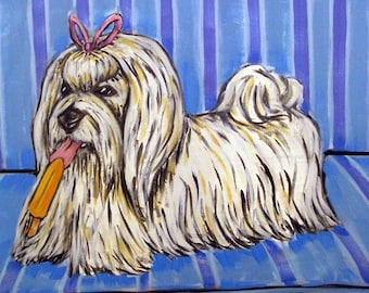 Maltese with a Popsicle Dog Art Tile Coaster Gift