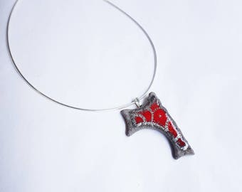 Red maze pendant Platinum original lava glazed volcanoes of Auvergne