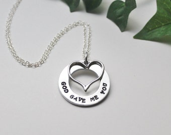 God Gave Me You Necklace, Hand Stamped Necklace, Couples Jewelry