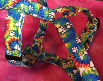 Tie dyed dog harness large