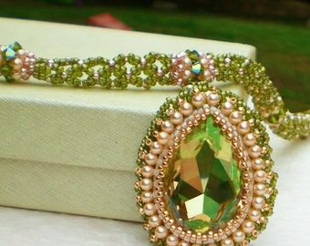 Statement  Crystal  Pearls Necklace  Peach Olive Green Jewelry  Teardrop Pendant  Romantic gift