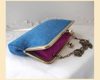 Harris Tweed bag, blue shoulder bag, blue tweed purse, Harris Tweed clutch bag with pink silk lining, azure blue evening bag