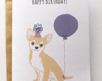 Chihuahua dog birthday greeting card A6 birthday card 1st 2nd 3rd birthday any age cute dog