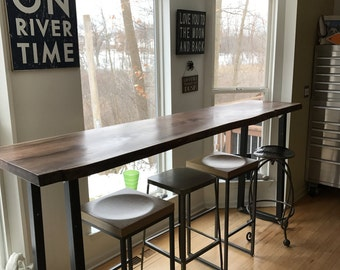 Live Edge Black Walnut Bar Table Tops With Industrial Metal Legs