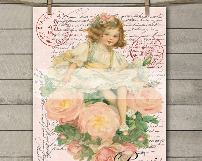 Shabby Chic Digital French Flower Girl, French Valentine Digital Transfer, Vintage Pillow Graphic Image