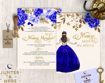 Jupiter and mars printables by jupiterandmarsprints on etsy elegant royal blue and gold quinceaera invitation quinceanera invitation invitacion de quinceaera oro floral gold type digital file solutioingenieria Gallery