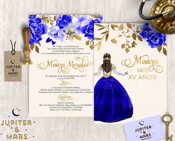 Elegant Royal Blue and Gold Quinceaera Invitation