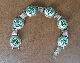 "Vintage~Turquoise~Silver Link~Carved ROSE Flowers~Bracelet~1960's~Nice Old Costume~Jewelry~8"" Bracelet~Hippie~Harley Rider~Womans Jewelry"