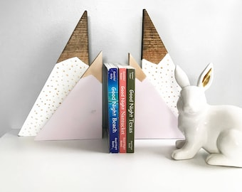 4 piece Whimsical Mountain Bookends/ Unicorn Inspired Mountain Bookends/ Girl Nursery Bookends/ Woodland theme/Rose Gold and Lilac Bookends