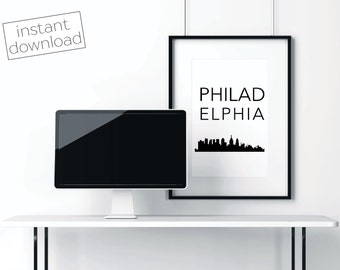 Philadelphia Print, Philly Skyline, Philly Poster, Printable Art, Instant Download, Philly Wall Art, Cityscape Art, Typography Poster