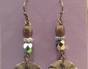 Hammered Silver and Antique Brass Bee Earrings