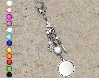 Medium round cabochon 20 mm spiral keychain or bag charm, drop