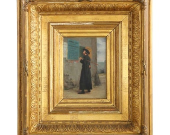 Authentic Antique French Oil Painting of Priest at Election Time by Vincent Chevilliard, 19th century, C102608