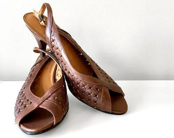 Vintage, 1970's, Brown, Peep-Toe, Star, Punch Out Pattern, Sling Back, Low Heel, Leather, Shoe, Heels, Pumps